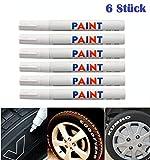 WEIß / WEISS 6x Stück Reifen Stift Reifenmarker Auto, Motorrad, Fahrradreifen...