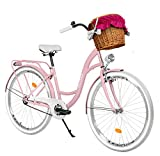 Milord. 28 Zoll 3-Gang rosa Komfort Fahrrad mit Korb und Rückenträger, Hollandrad, Damenfahrrad,...