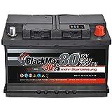 Autobatterie 80Ah 12V BlackMax +30% mehr Leistung Starterbatterie ersetzt 72Ah 74Ah