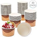 50 Dessert Einweg Eisschalen Eisbecher aus Karton 240 ml - groartig bei Partys Geburtstage...