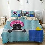 VISALUNA Bettwäsche 220x240cm Französische Bulldogge in einem Badewannen-Welpen,der eine Badekappe...