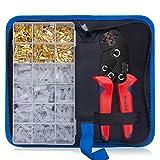 Crimpzange Flachsteckhülsen Set, Preciva Crimpwerkzeug mit 300 stück Kabelstecker 0,5-1,5 mm²