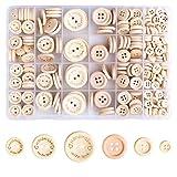 HXC Holzknöpfe 320 Stück Kategorie Knöpfe Set Holzknöpfe zum Stricken und Nähen 2/4 Löcher DIY...