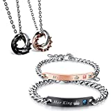 Flongo Pärchen Armband Halskette Set, Edelstahl Armband Armkette Partnerarmbänder Anhänger...