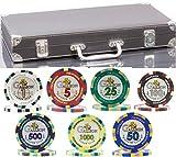 (300 + 20) Chips Clay Pro Poker Set in einer Vinyllederhülle - 320 schwere 14g Casino-Qualität...