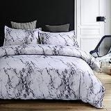Bettwäsche Bettbezug Set 135x200cm Weiß Grau Marmor Muster Modern Style Mikrofaser Bettbezug mit...