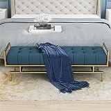 CHL Bettbank Schlafzimmer mit Leinen Kissen und Messing Edelstahl Metallrahmen (Color : Blue, Size :...
