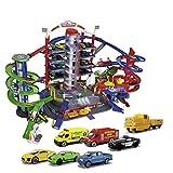 Majorette Super City Garage, motorisierte Bahn für Modellautos mit Parkplätzen und Eisenbahn,...