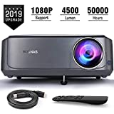 Beamer für Heimkino Office 1080P Full HD, 4500 Lumen Multimedia LCD Video Projektor LED 50000...