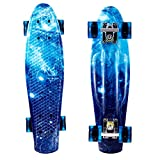 WeSkate 22zoll/55cm Mini Cruiser Skateboard mit LED Leuchtrollen für für Erwachsene Kinder Jungen...