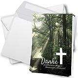 Trauer Danksagungskarten mit Umschlag | Motiv: Lichtung im Wald, 10 Stück | Dankeskarten DIN A6 Set...