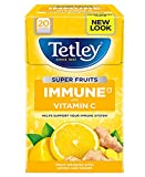 Tetley Früchtetee Immune - 4 Packung X 20 Teebeutel Zitrone/Ingwer