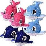 TE-Trend 6 Stück Plüsch Wal Fische Wassertier Kuscheltier Stofftier 30cm Blau Hellblau Pink...