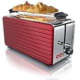 Arendo - Toaster Langschlitz 4 Scheiben - Defrost Funktion - wärmeisolierendes Gehäuse -...