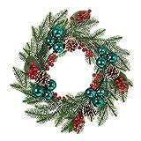Amosfun Weihnachtskranz 50cm Tannenkranz Künstlicher Kranz mit Beeren Weihnachtskugeln Tannenzapfen...