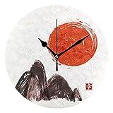 FFY Go Home Kunstwerk, Berge und rote Sonne Bedruckt, Wand-Tischuhr, Vintage-Dekoration, tolles...