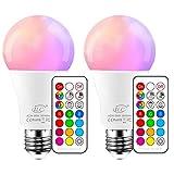 iLC Farbige Leuchtmittel LED RGBW Lampe Edison Dimmbare Farbige Leuchtmitte Lampen 10W E27 RGB LED...