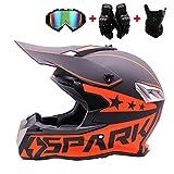 WRISCG Cross Helm Erwachsene Motocross Helm Off Road Motorradhelm mit Schutzbrille Handschuhe Maske...