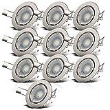 B.K.Licht I 10er Set schwenkbare LED Einbaustrahler I inkl. 10x 5W 400lm GU10 Leuchtmittel I...