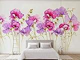 Fototapete 3D Effekt Moderne Frische Idyllische Rote Blume Moderne Wandtapete Wohnzimmer Dekoration...