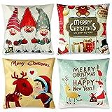 YIRSUR 4 Stück Kissenbezüge Weihnachten, Kissenbezug Weihnachten Christmas, Weihnachtsbaum...
