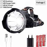 xiamumaoyi Scheinwerfer USB Wiederaufladbar Super Bright Led Hardhat Light, Schutzhelm Stirnlampe...