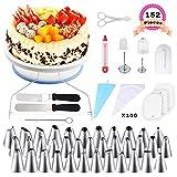 WisFox 152 Teiliges Tortenplatte Drehbar Tortenständer Kuchen Drehteller Spritztüllen Set mit 36...
