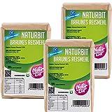 Braunes Reismehl glutenfrei 3 x 500 g Sparpaket | 1500 g dunkles Vollkornreismehl zum Backen und...