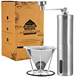 Kaffee- Set | Handkaffeemühle mit Keramikmahlwerk | Kaffeefilter Edelstahl | Manuelle Kaffeemühle...