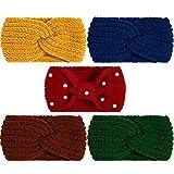 Whaline 5 Stück Winter-Strick-Stirnbänder, 4 elastische Turban-Kopfwickel und 1 Perlenhaarband,...