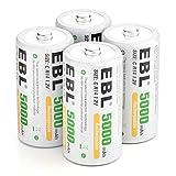 EBL Baby C Akku 5000mAh - NI-MH wiederaufladbare Batterie 4er Pack mit Aufbewahrungsbox, 1,2V Typ C...