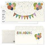 Postkartenschmiede 12 Einladungskarten Kindergeburtstag mit Luftballons – Einladungen Geburtstag...