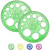 AFASOES 2 Stück Kreis schablone Lineal Kreisschablone 360 Grad Winkelmesser Kunststoff...