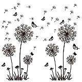 2 Set Wandtattoo Pusteblumen Schwarz 165X130 cm Schmetterlinge Fliegen im Wind Wandsticker...