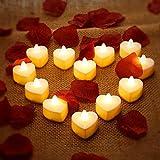 12 Stück Herz Form LED Teelicht Kerzen Romantische Liebe LED Kerzen mit 200 Stück Seide...