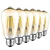 Edison Vintage Glühbirne, 4W E27 ST64 Edison LED Lampe Retro Filament Glühbirne Warmweiß...