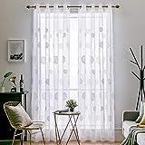 MIULEE Vorhang Sheer Voile Blumen Stickerei Vorhnge mit sen transparent Gardine 2 Stcke senvorhang...