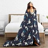 PecoStar Flanell-Fleecedecke mit süßen Katzen und Sternen, flauschig, warm, für Sofa und Couch,...