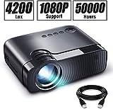 Mini Beamer, 4200 Lumen Synchronize Smartphone Screen Video projektor, 1080P untersttzt, 240'...