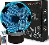 Kinder Nachtlicht Fußball 3D Optische Täuschung Lampe mit Fernbedienung 16 Farben Ändern Fußball...