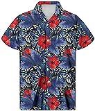 HUGS IDEA Herrenhemd mit Knopfleiste vorne, für den Sommer, kurzärmelig, Hawaii Gr. S, Hawaii 12