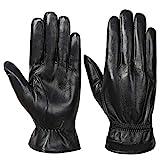 Acdyion Herren Winter Echtleder Handschuhe Warm Touch Screen Lederhandschuhe Outdoor Fahren...