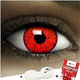 Farbige rote Kontaktlinsen Devil + Kunstblut Kapseln + Behälter von FXCONTACTS, weich, ohne Stärke...