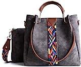 YAZI Vintage Handtasche Kunstleder Umhngetasche Arbeit Schulranzen Frauen Geldbrse 2er Set Tasche...