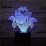 3D Blumenform Tischlampe 7 Farben LED Touch Sc Blumennachtlicht USB Schlafbeleuchtung Lampara Kinder...