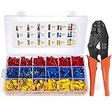 EVENTRONIC Crimpzange Kabelschuhe Set,27 Arten von Flachstecker AWG22-10(0,5-6 qmm) Kabelschuh...