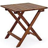 Deuba Beistelltisch Klapptisch Akazie Holz 46x46 cm Klappbar Balkontisch Holztisch Gartentisch...