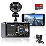 Abask Dashcam Auto Vorne und Hinten Autokamera mit 32 GB SD-Karte, 4 Zoll Full HD 1080P, 170 °...