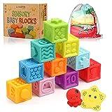 Weich Bausteine Baby Badewannenspielzeug aus Vinyl - 12 STK. Montessori Stapelwürfel für...