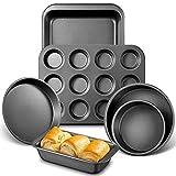 Deik Backformen Set 6-teilig, Brat und Auflaufform, Muffinform für 12 Muffins, Pizzablech,...